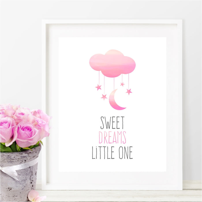 Sweet Dreams Little One Wall Art Pink Moon, Stars and Clouds