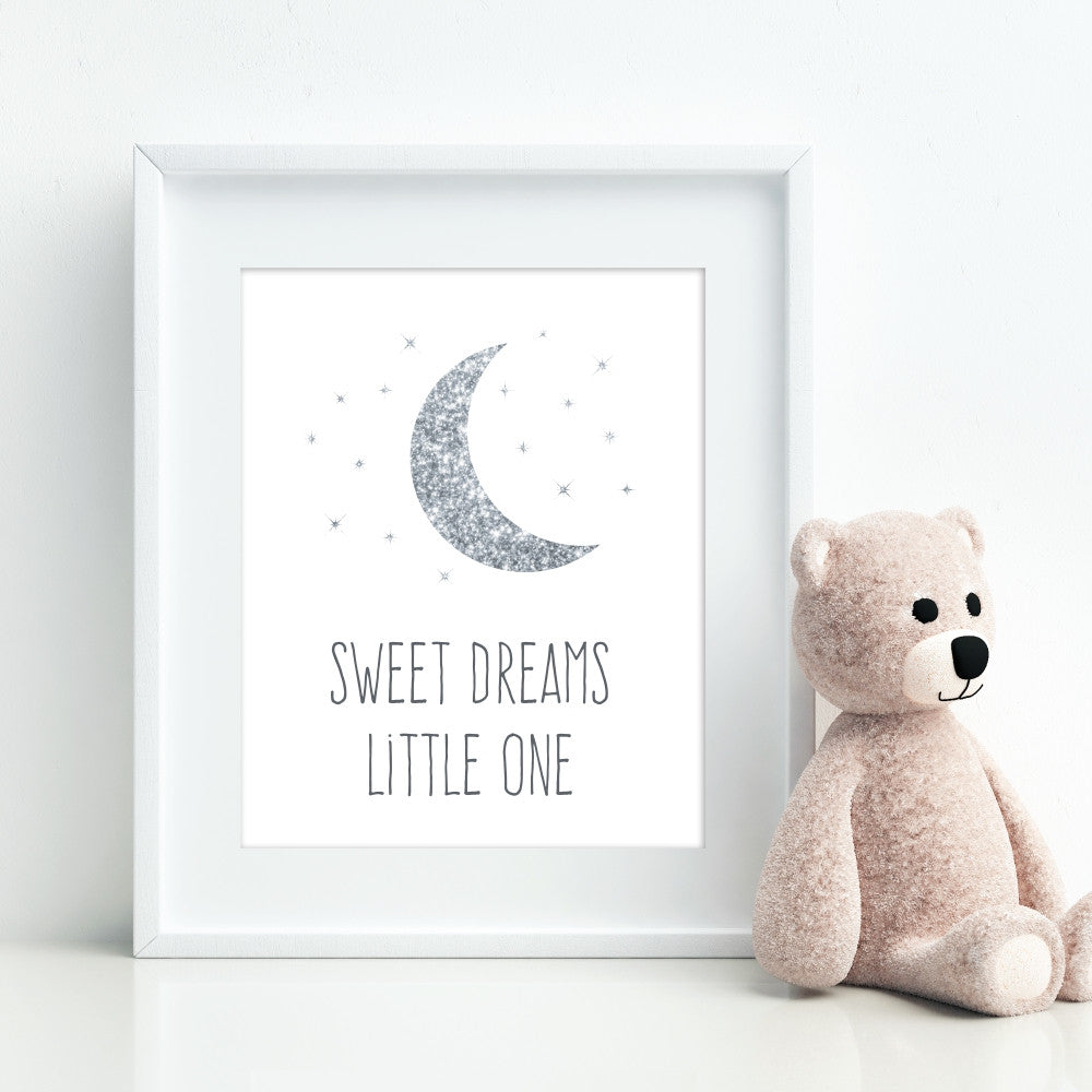 Silver Glitter Sweet Dreams Little One Wall Art