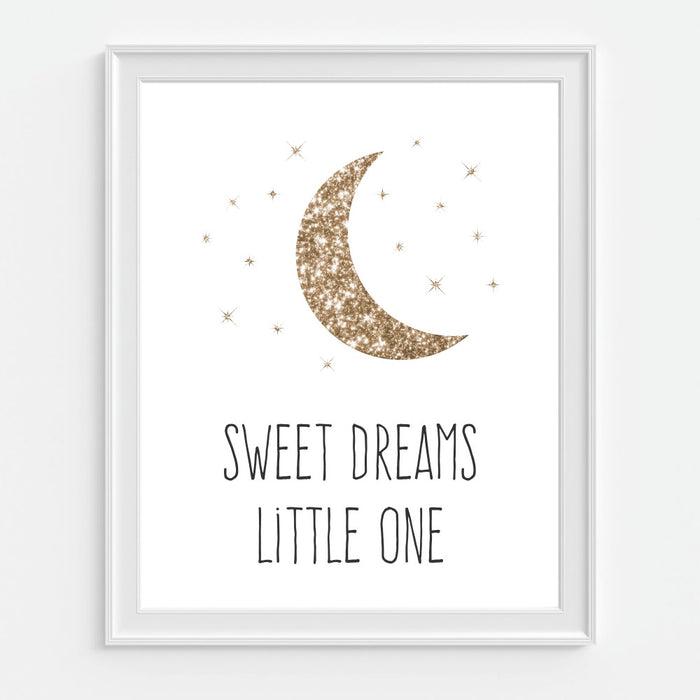 Sweet Dreams Little One Art Print with Moon