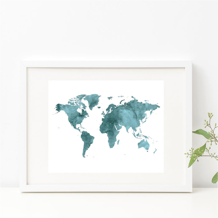 Watercolor Teal World Map Wall Art