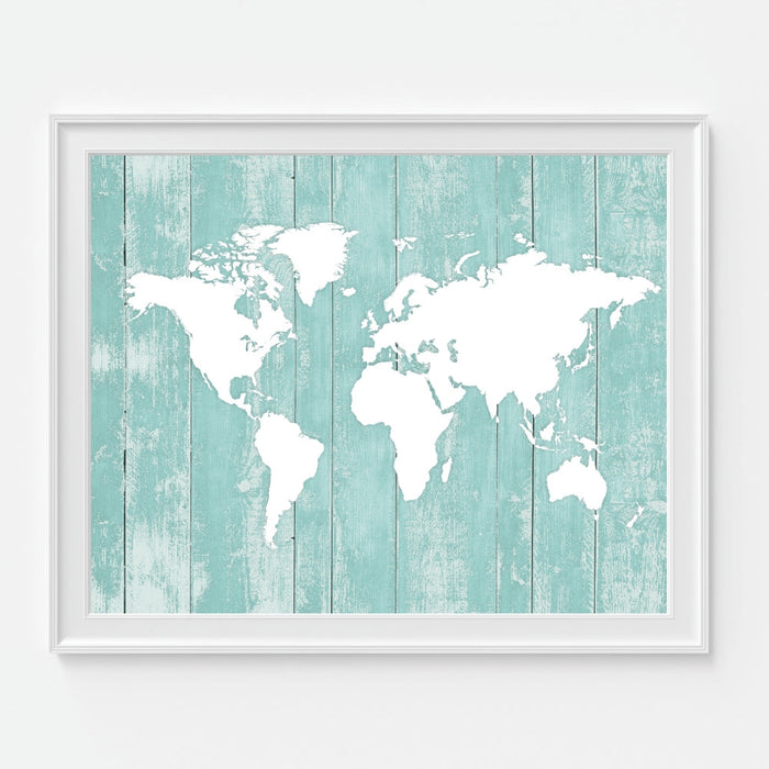 Teal World Map Wall Art