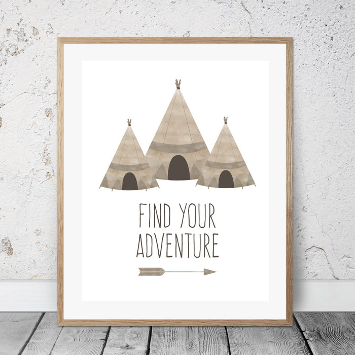 Find Your Adventure Teepee Wall Art