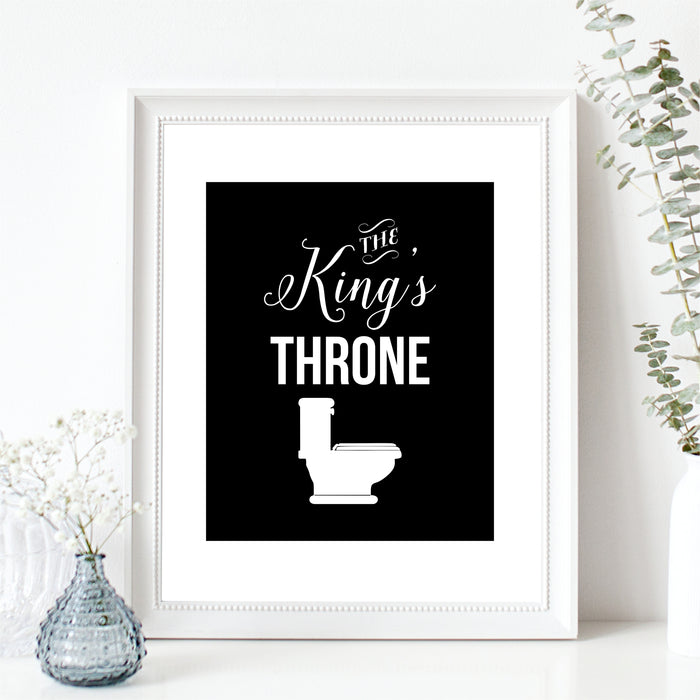 The King's Throne Wall Art Toilet Humor Funny Bathroom Print