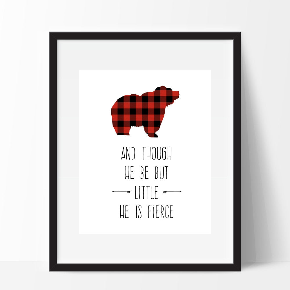 Though He Be But Little He is Fierce Bear Wall Art Red Plaid