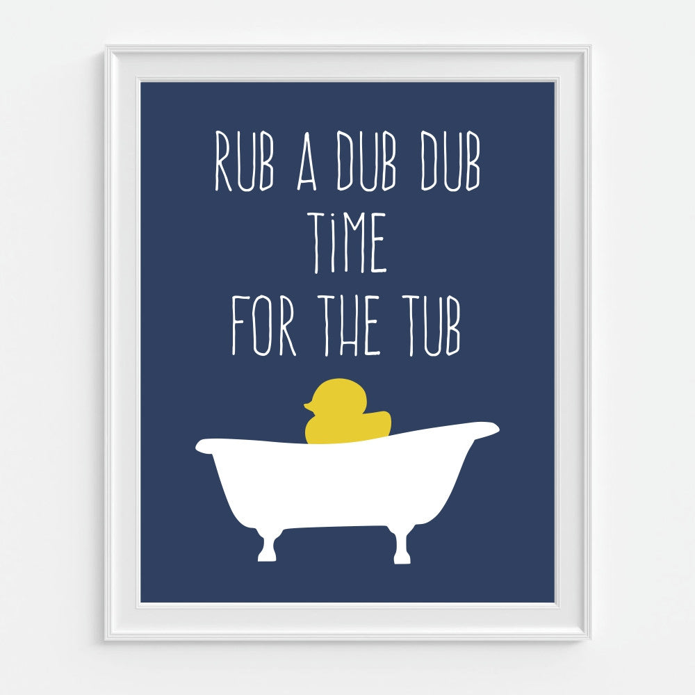 Children's Bathroom Wall Art Rub A Dub Dub Time For the Tub