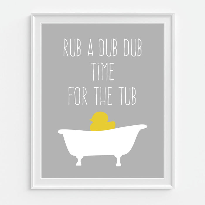 Time For The Tub Ducky Wall Art Children's Bathroom Print