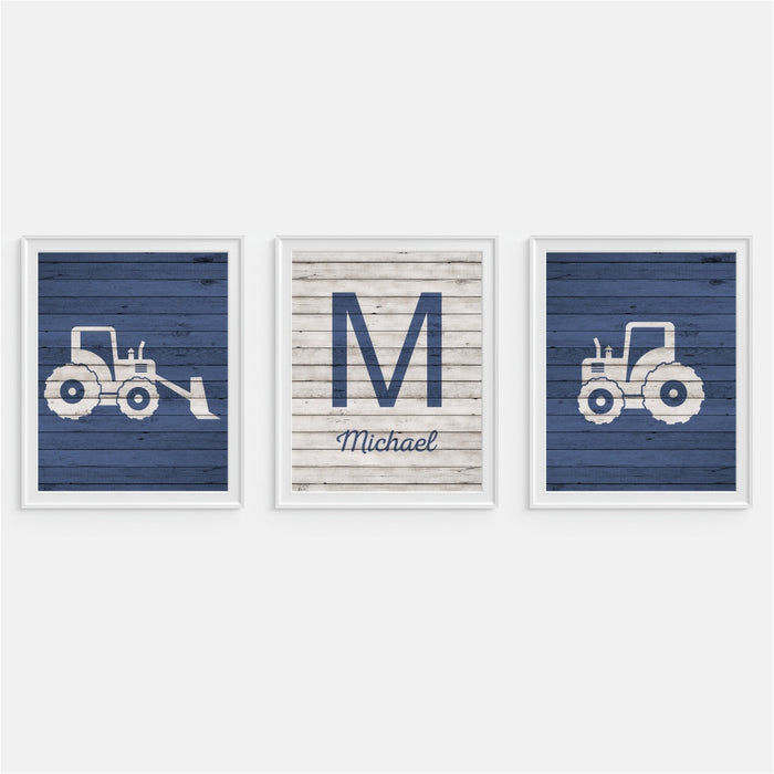 Tractor and Bulldozer Wall Art personalized initial print