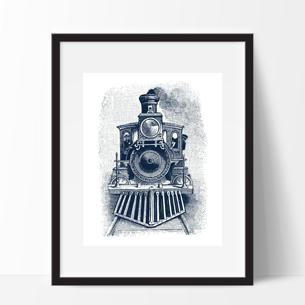Blue Steam Engine Train Wall Art