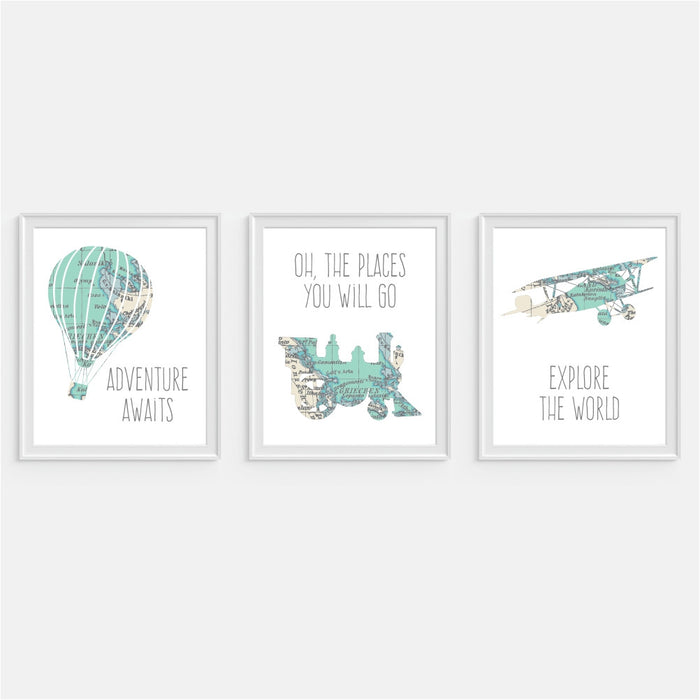Train Wall Art Oh the places you will go - Hot Air Balloon Art Adventure Awaits - Airplane Art Explore the world