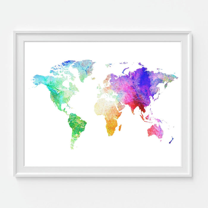 Colorful Watercolor World Map