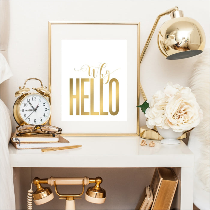 Why Hello Gold Wall Art
