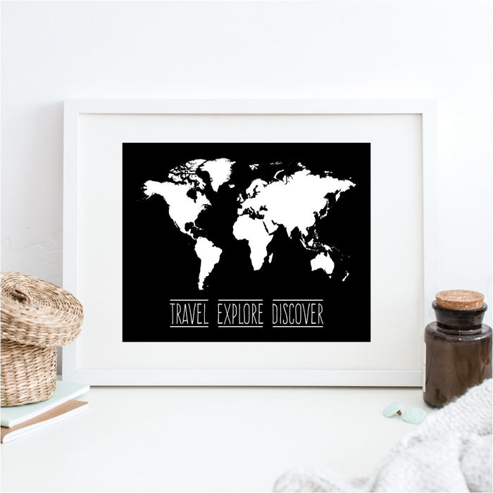 World Map Travel Explore Discover Wall Art