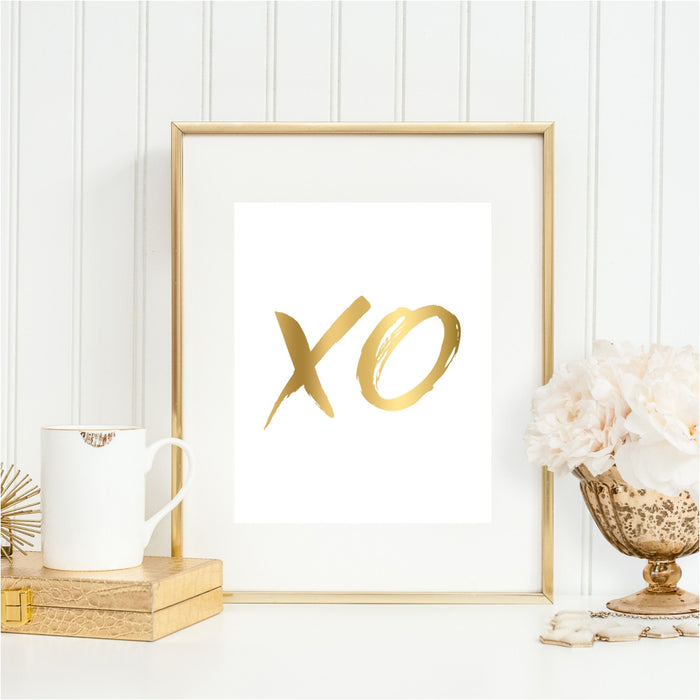 XO Hugs and Kisses Gold Wall Art