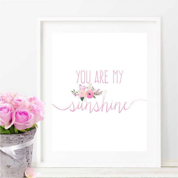 You Are My Sunshine Wall Art in Pink