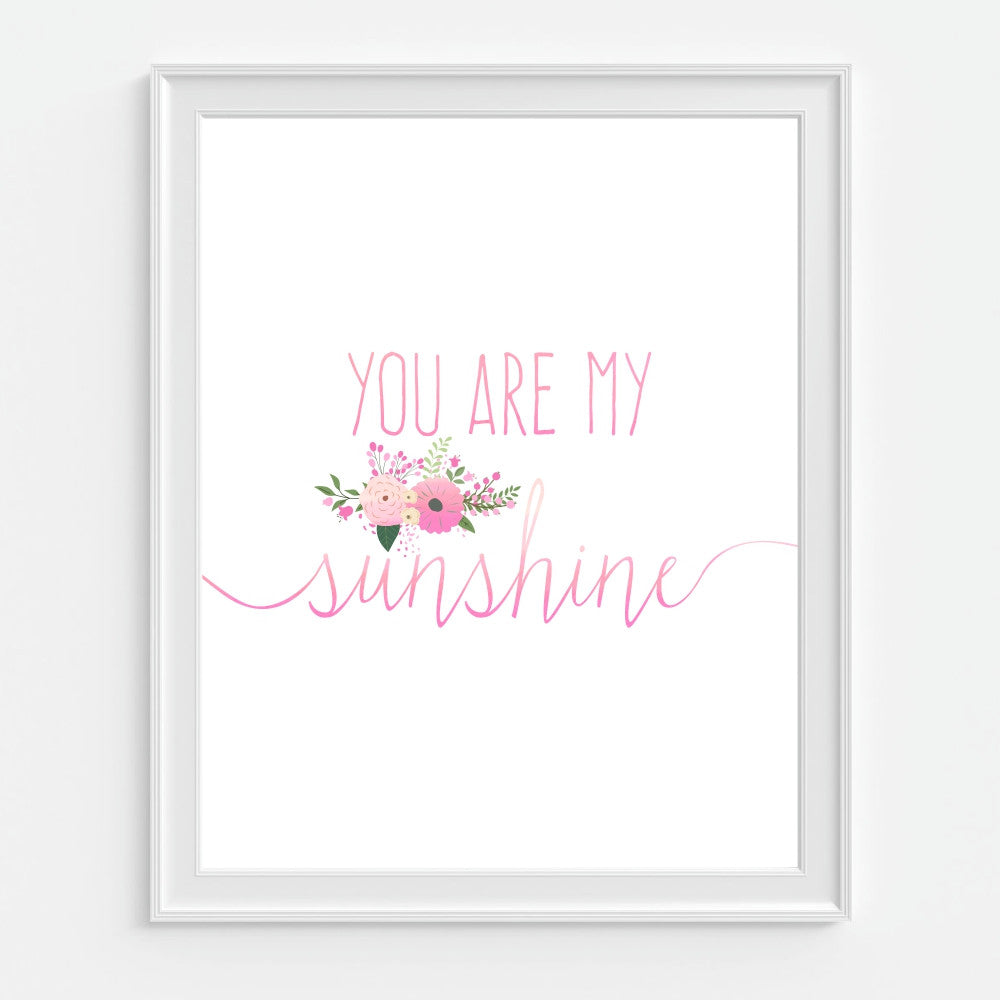 Pink Wall Art You Are My Sunshine