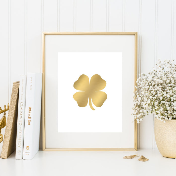 Gold Four Leaf Clover Wall Art