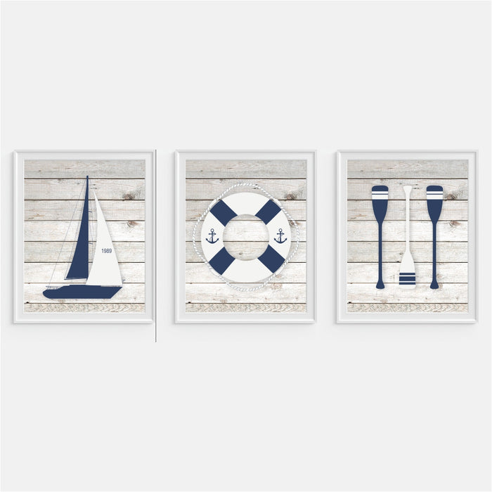 Nautical Art Prints Sailboat, Buoy and Oars