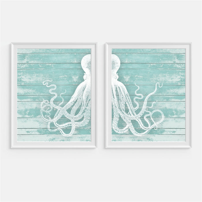 Octopus Wall Art. Set of Two Octopus split on a teal wood background.