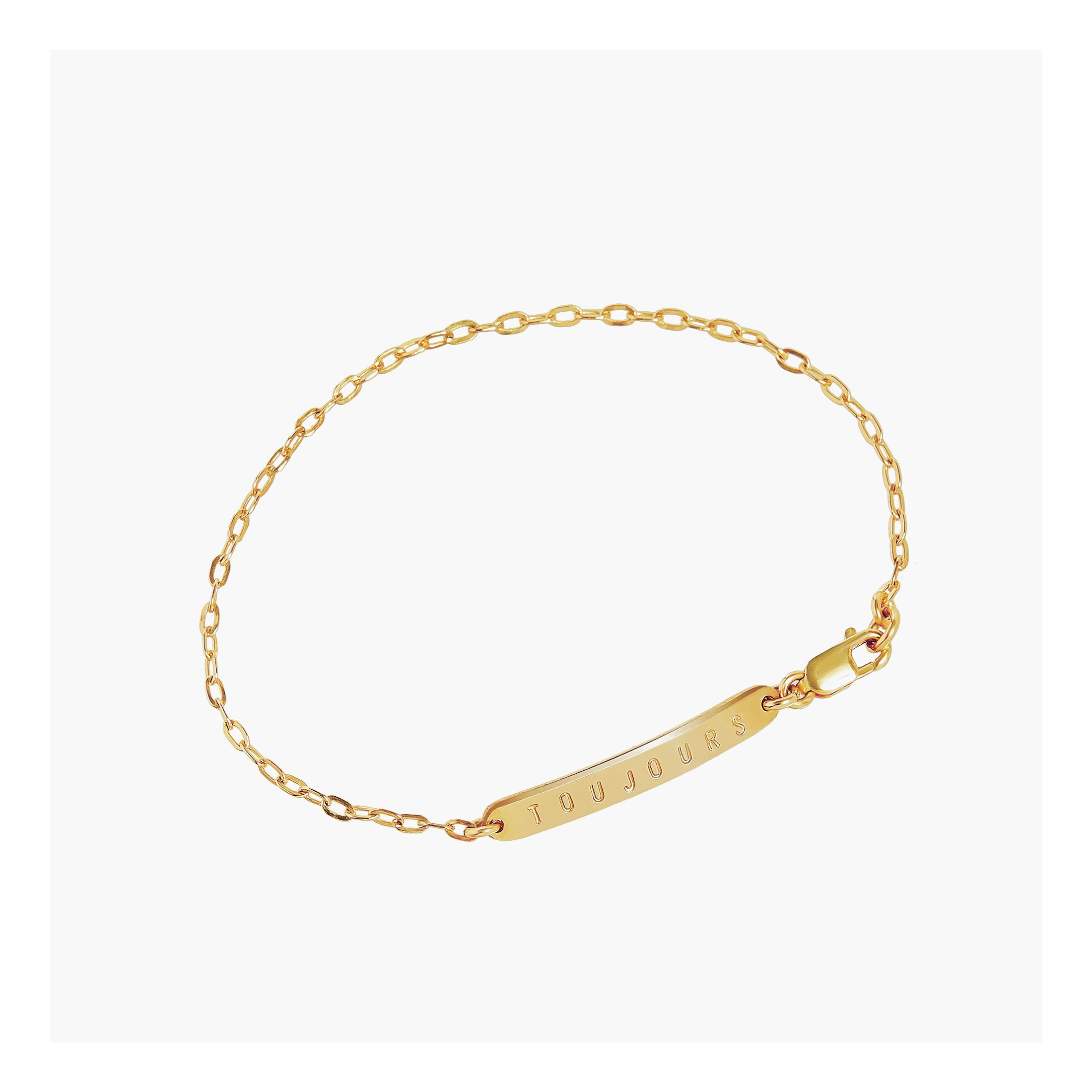 Dainty bar bracelet engraved with 'Always' in gold or silver
