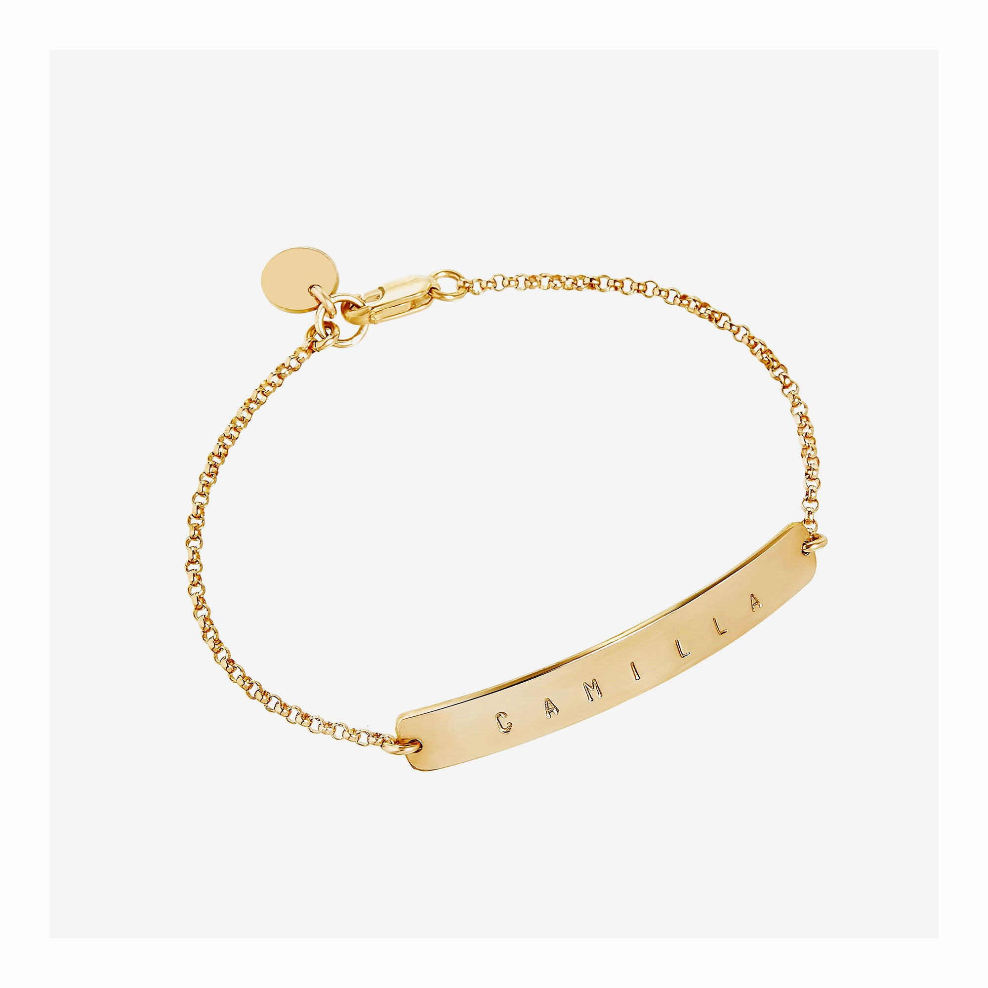 Name bar bracelet with larger bar.  Custom made in 14k gold filled metal