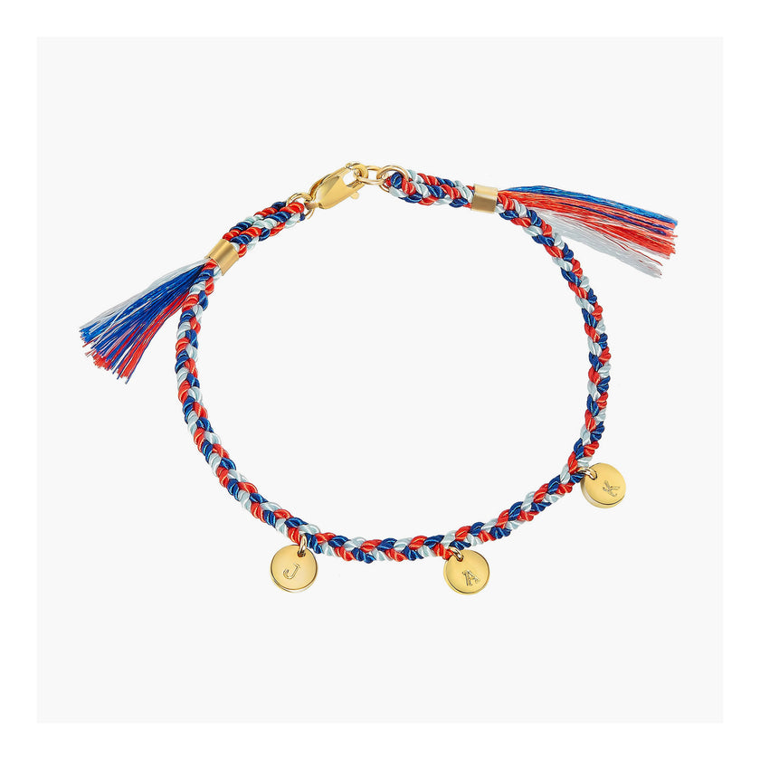 Initial Disc Bracelet with Braided Cord