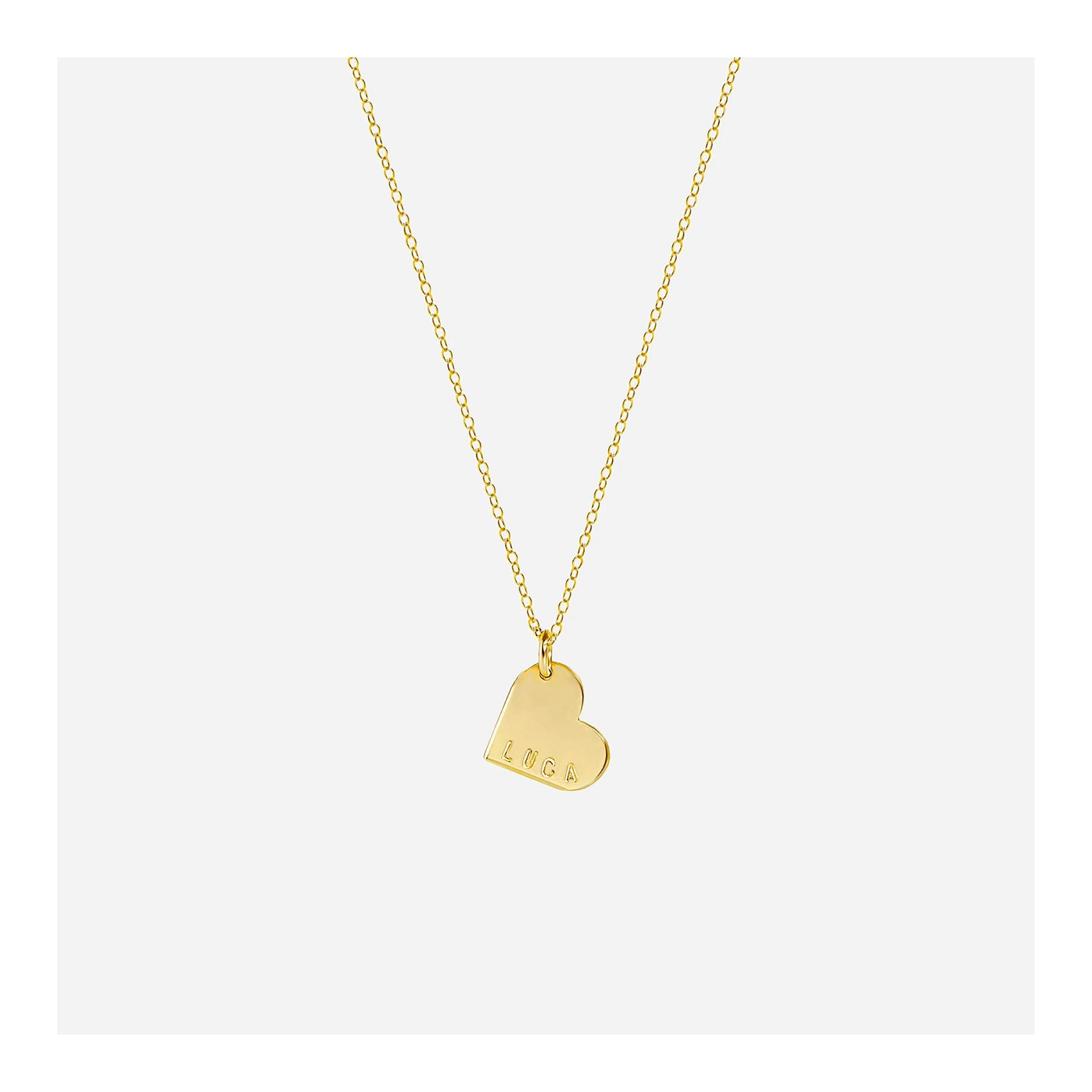 Personalized heart necklace in 14k gold filled