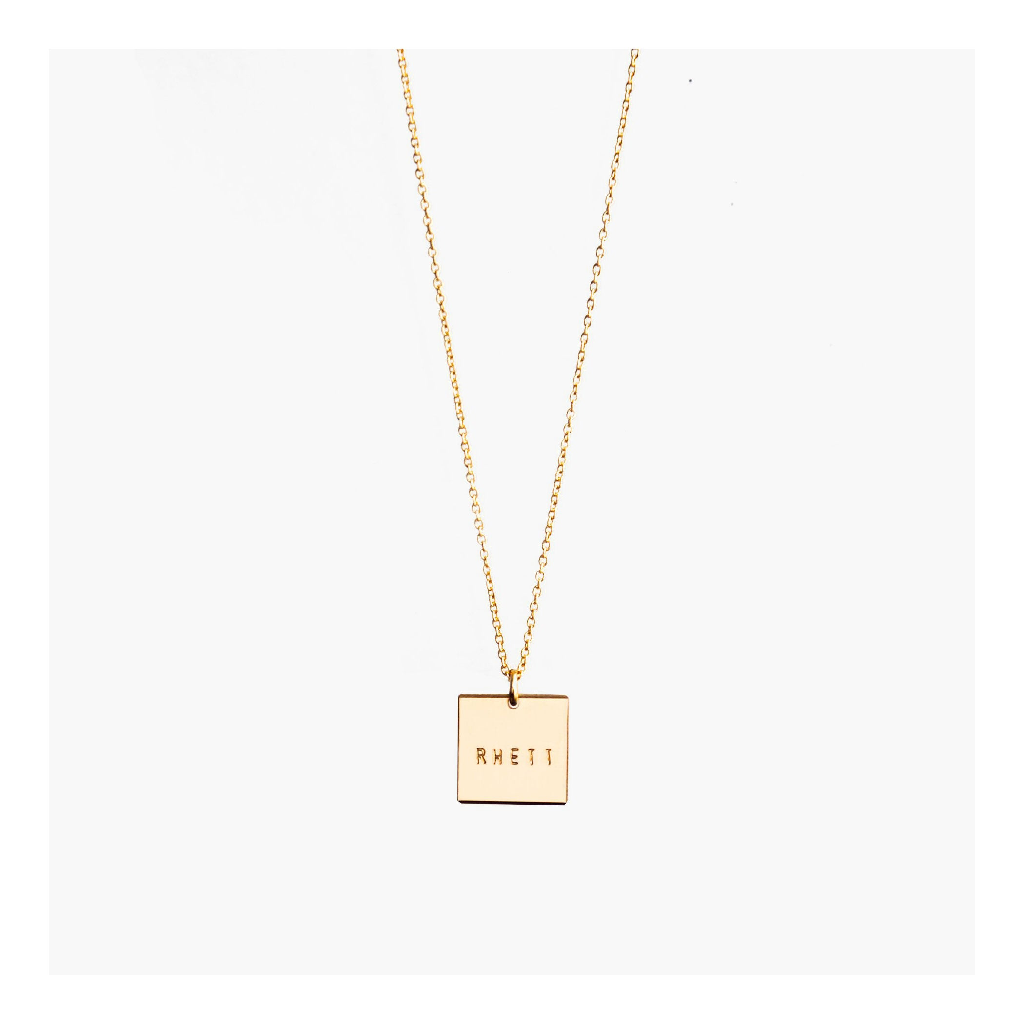 Square pendant necklace | Square initial necklace