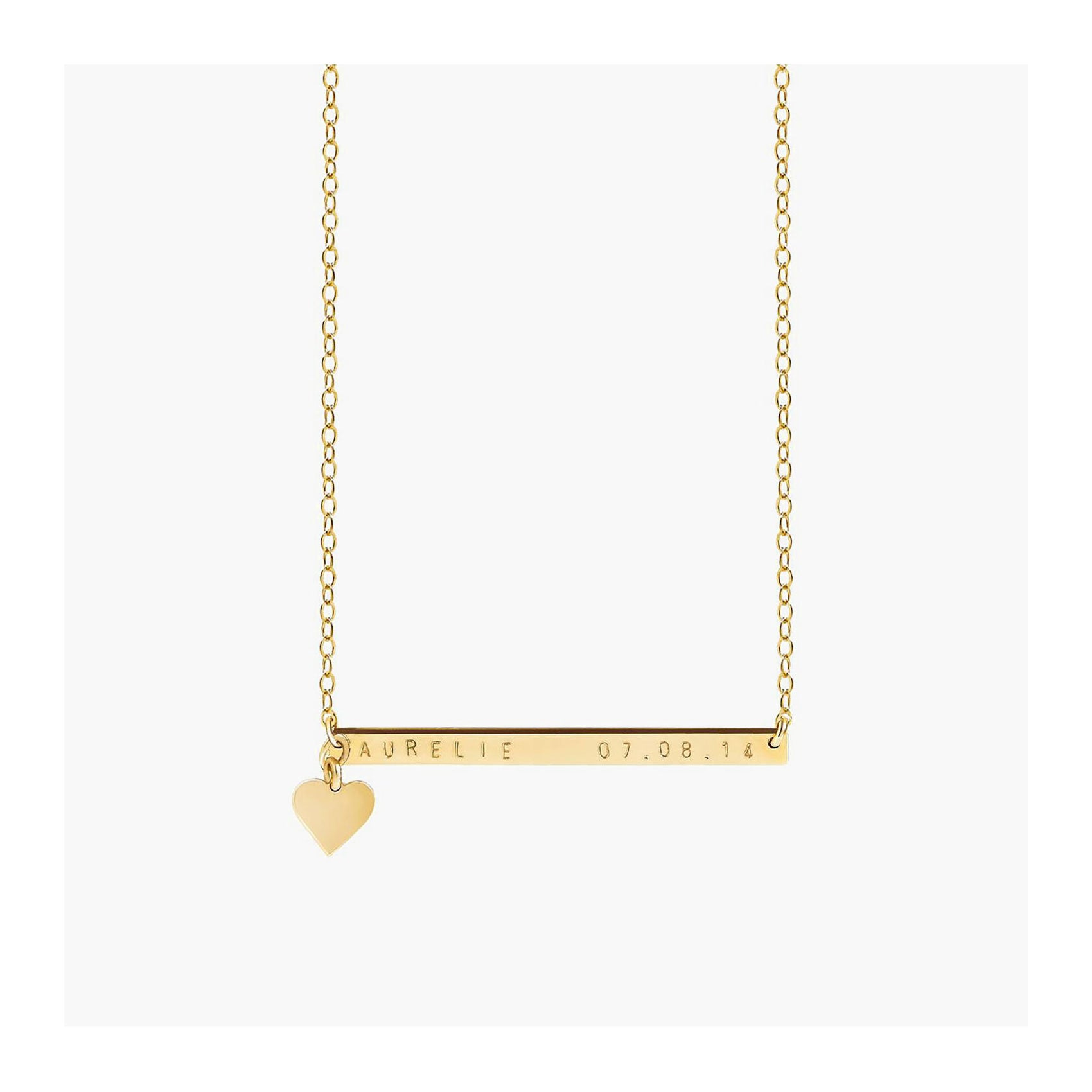 Gold bar necklace with a heart charm