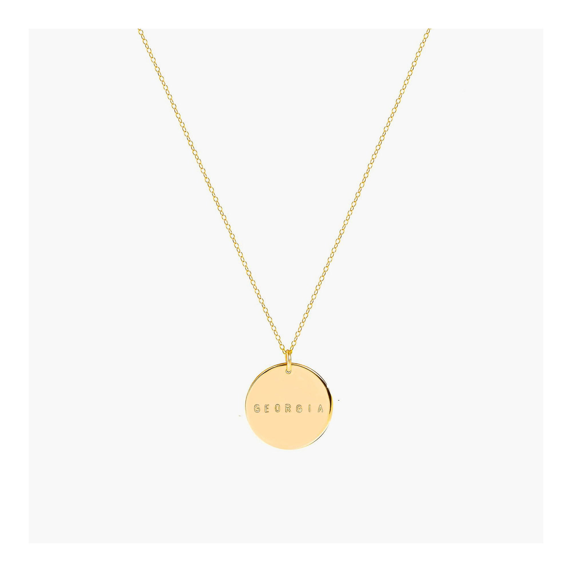 Personalized Pendant Necklace | Gold initial necklace | Engraved pendant necklace