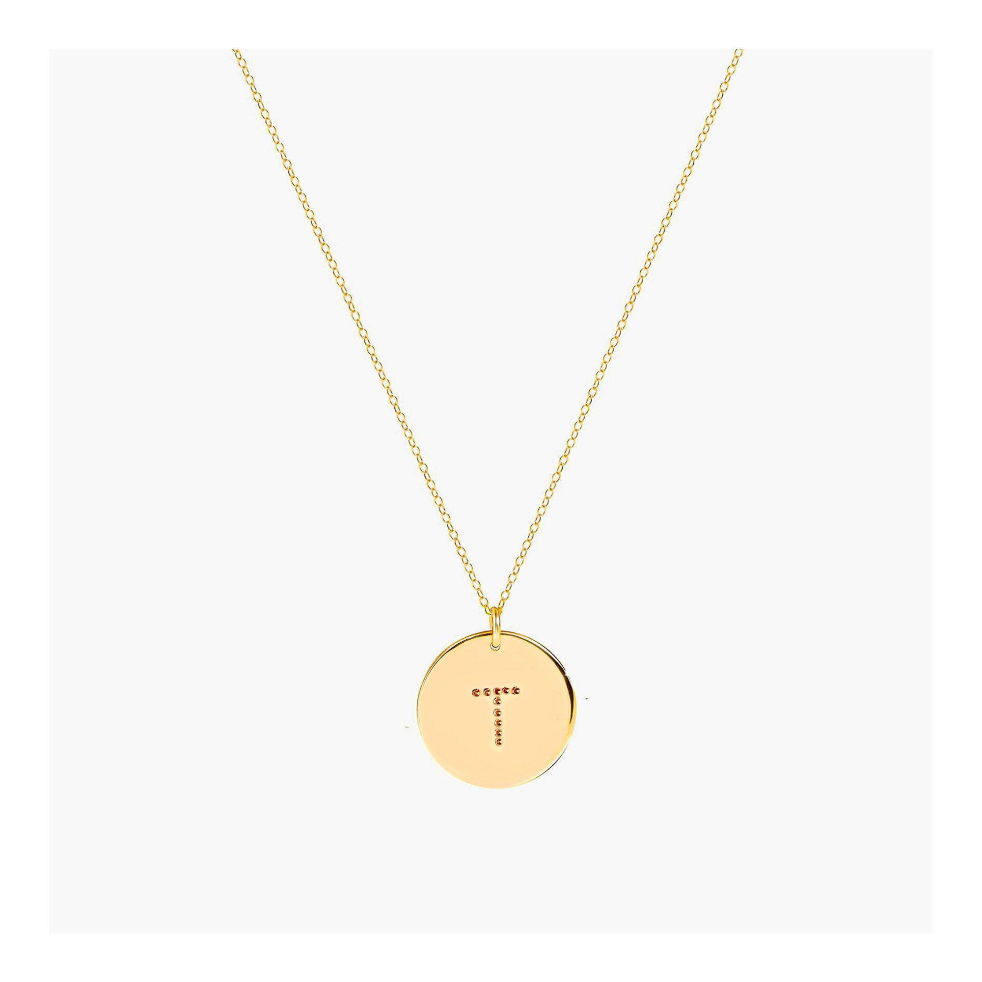 Personalized initial disc necklace with dot font