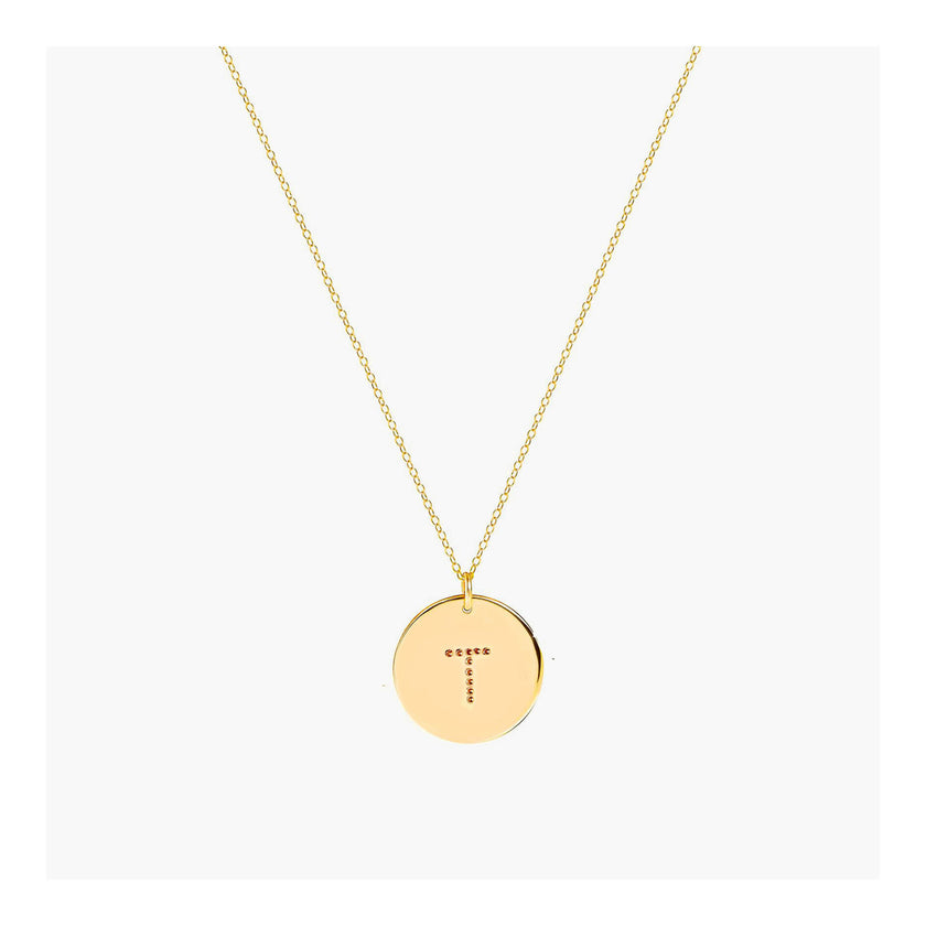 Initial disc necklace With Dot font
