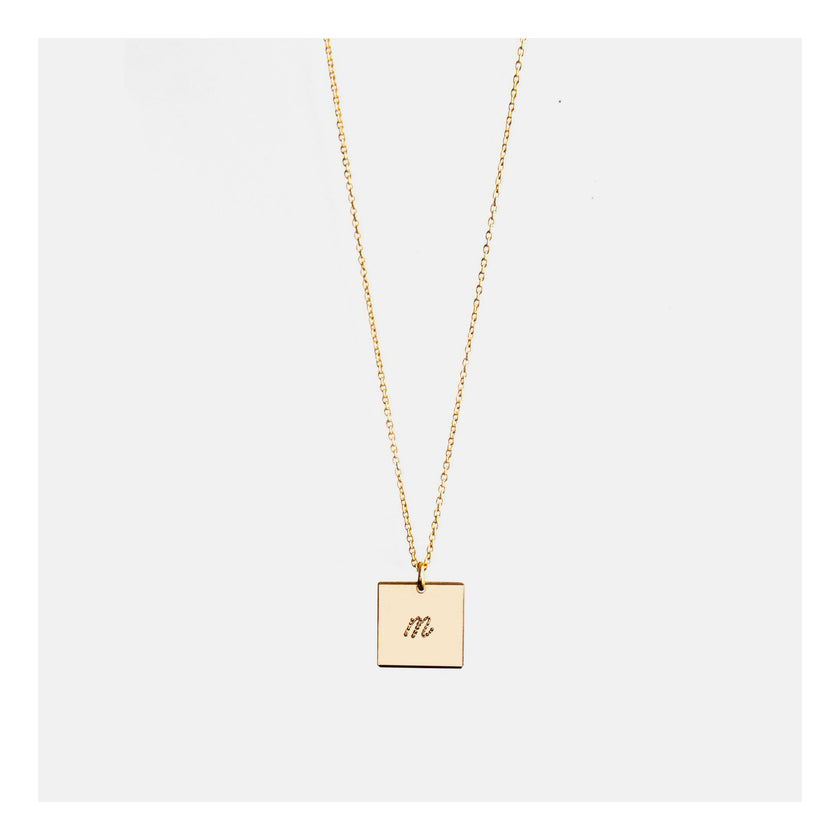 Square Initial Necklace with dotted script font.