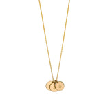 Gold Initial necklace engraved with dotted script font