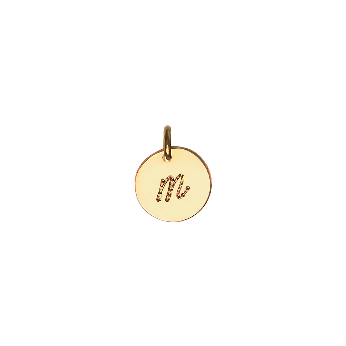 Gold Initial pendant engraved with script dot font
