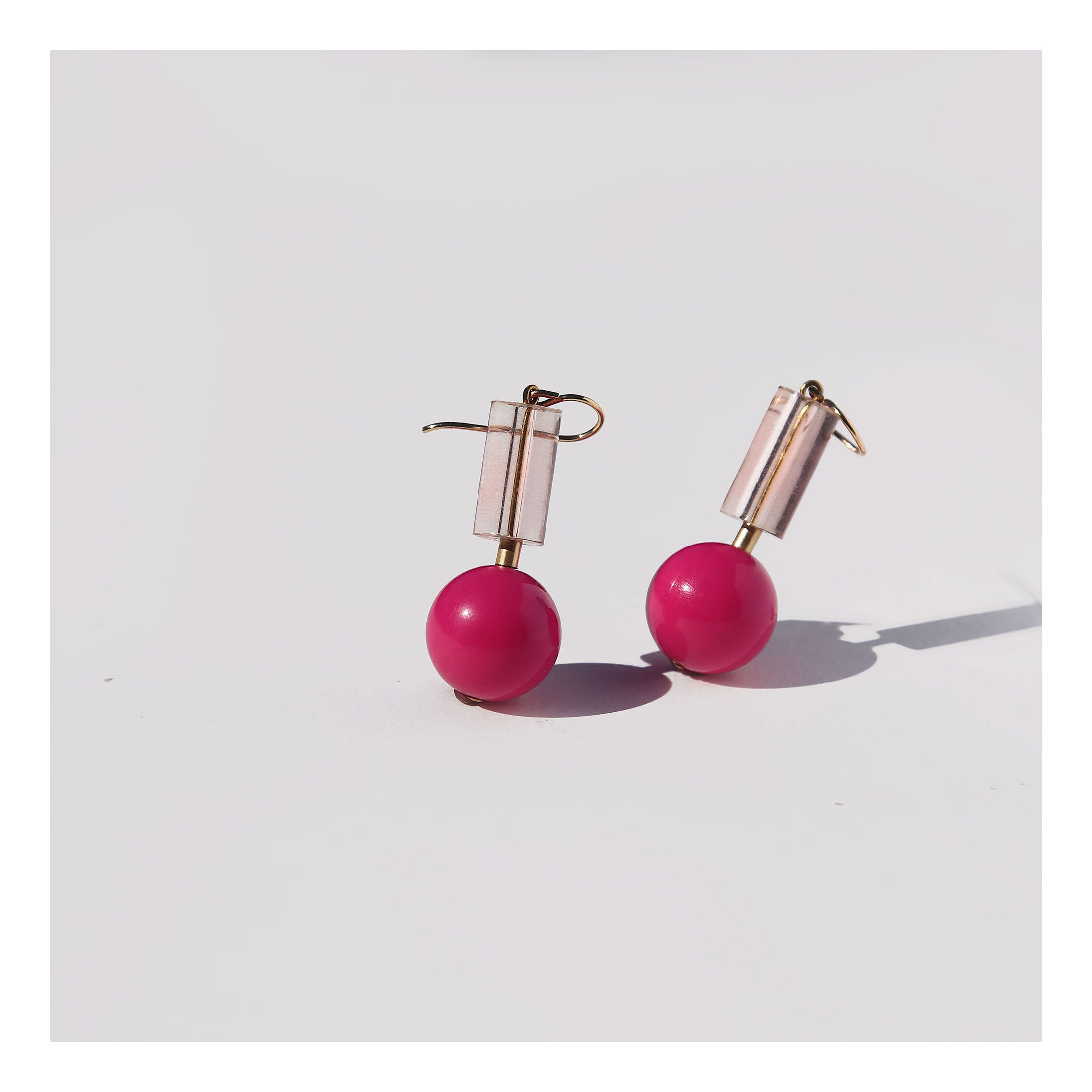 Bubble gum lucite earrings