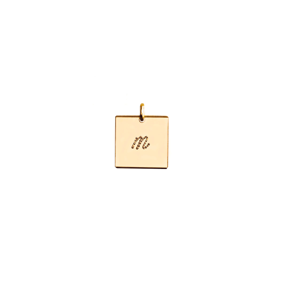 Square initial pendant with dot font
