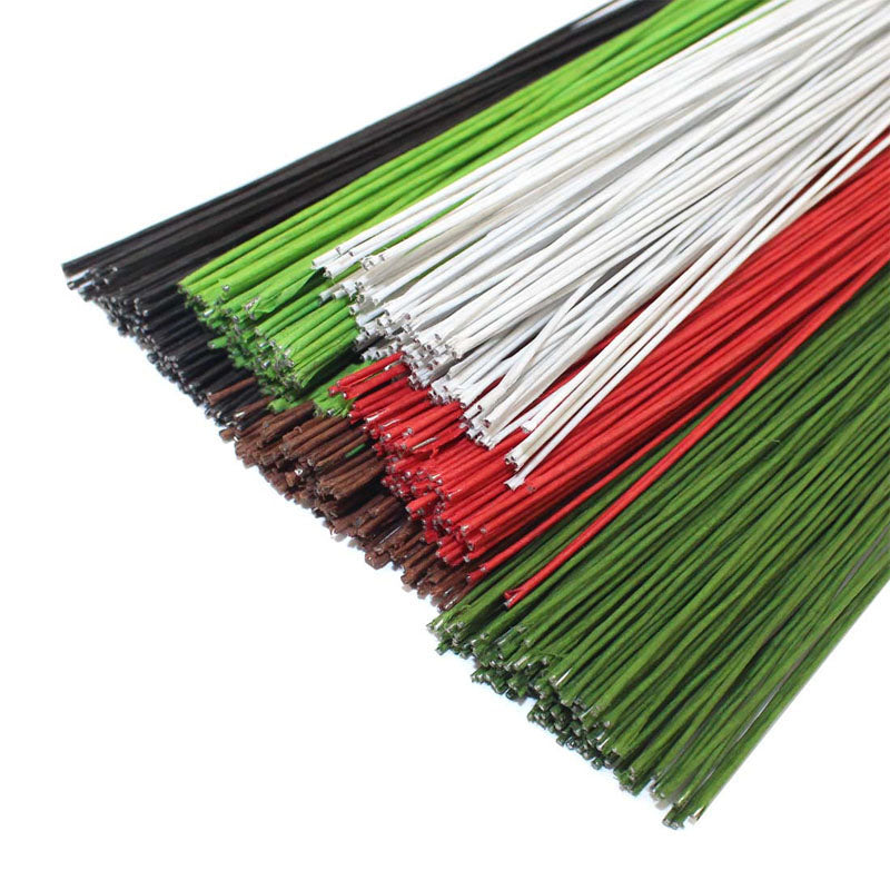 CCINEE 50PCS #26 Paper Wire 0.45mm/0.0177Inch Diameter 40cm Long Iron Wire Used For DIY Nylon Stocking Flower Making