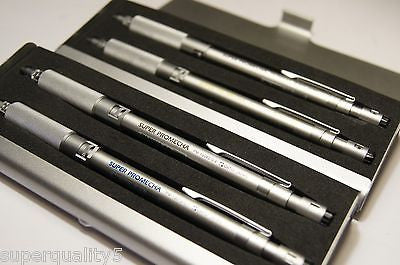 SUPER PROMECHA OHTO  PM-1000S  Set .3 .5 .7 .9 Drafting Mechanical Pencil Silver