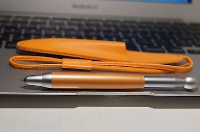 Tombow Ballpoint Pen Orange + Genuine Leather Pouch New