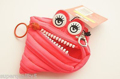 ZIPIT MONSTER FACE Small Key chain Coin Pouch  Pink Monster ZIPPER STYLE