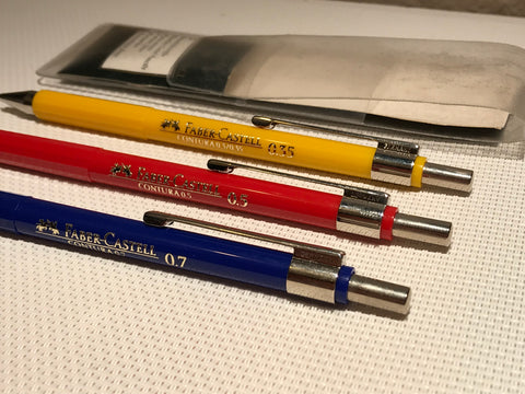 Faber Castell CONTURA SET 0.3 0.5 0.7 3 yellow red blue mechanical pencil made in Germany Vintage NEW NOS