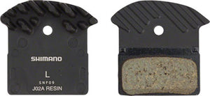 Shimano J02A Resin Disc Brake Pads and Spring with Fins