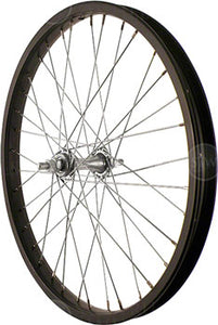 "Sta-Tru Front Wheel 20"" Black Steel Rim, Solid Axle, and 36 Spokes, Includes Axle Nuts"