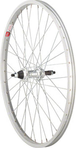 "Sta-Tru Rear Wheel 24"" x 1.5"" Solid Axle, 36 Spokes, 5-8 Speed Freewheel, Includes Axle Nuts, Silver"