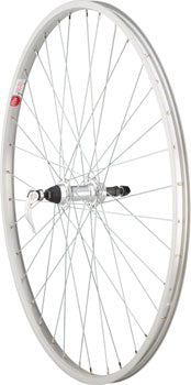 Sta-Tru Rear Wheel 700c x 35mm Quick-Release Axle, 36 Spokes, 5-8 Speed Freewheel, Alloy Rim, Silver