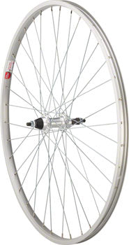 Sta-Tru Rear Wheel 700c x 35mm Solid Axle, 36 Spokes, 5-8 Speed Freewheel, Includes Axle Nuts, Silver