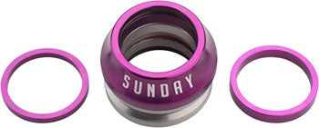 "Sunday Integrated Conical 1-1/8"" Headset 15mm Purple"