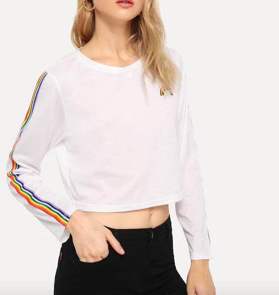 Playera Blanca Arcoiris Manga Larga *