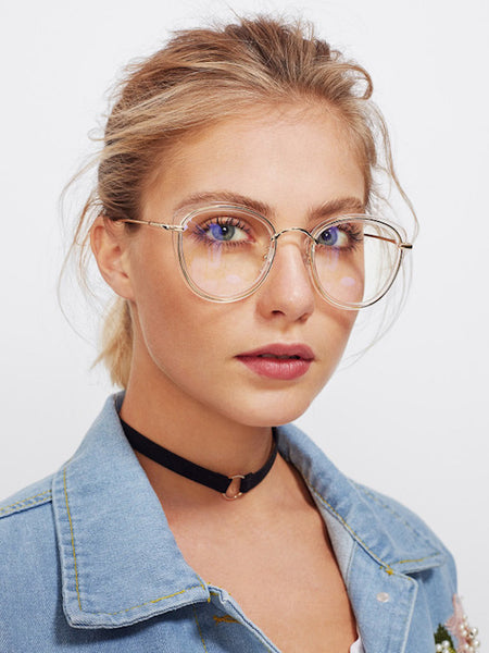 Lentes Semi Cat Eye Transparentes y Dorado *