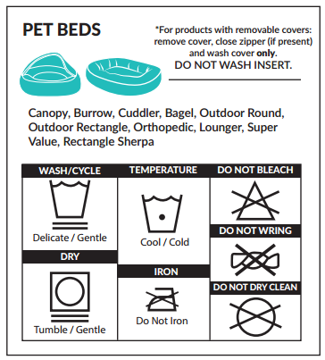 washing instructions for pet beds
